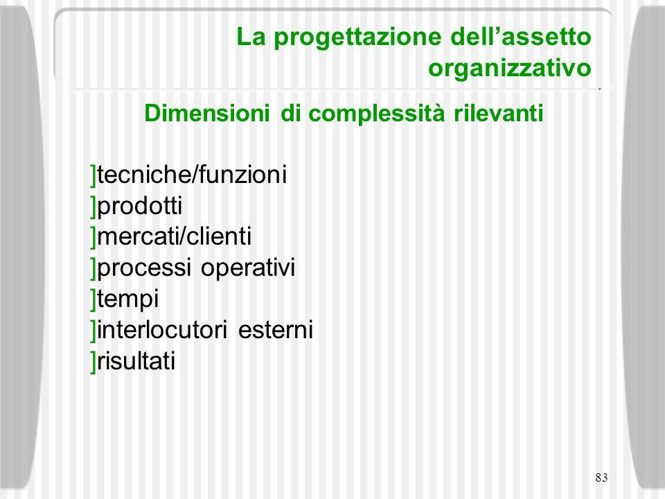 83 La progettazione dellassetto organizzativo Dimensioni di complessità rilevanti tecniche/funzioni prodotti mercati/clienti processi operativi tempi