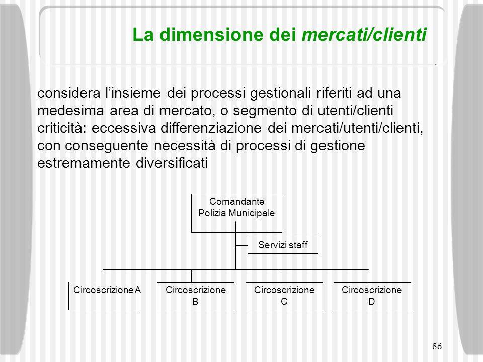 86 La dimensione dei mercati/clienti considera linsieme dei processi gestionali riferiti ad una medesima area di mercato, o segmento di utenti/clienti