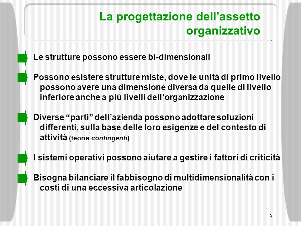 91 La progettazione dellassetto organizzativo Le strutture possono essere bi-dimensionali Possono esistere strutture miste, dove le unità di primo liv