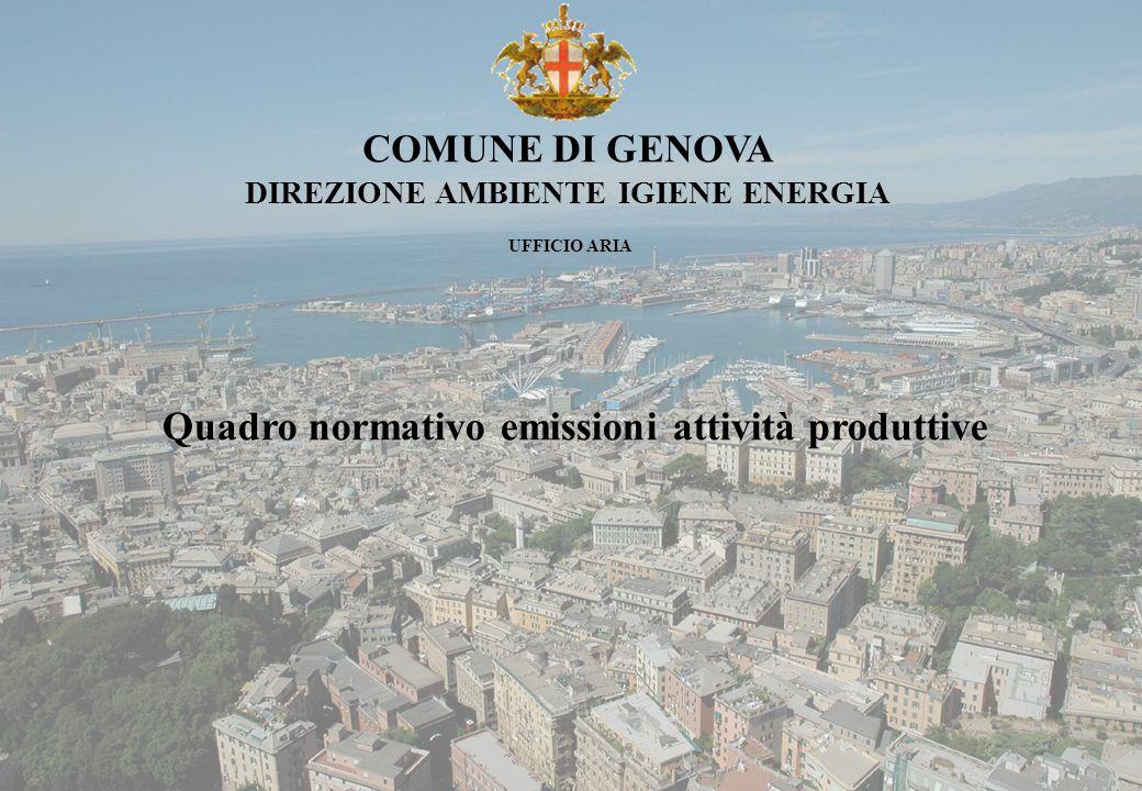 Comune di Genova Quadro normativo emissioni attività produttive COMPETENZE DEL COMUNE Il Comune di Genova, è competente per il rilascio dellautorizzazione alle emissioni per le seguenti attività produttive (art.