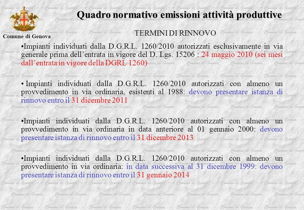 Comune di Genova Quadro normativo emissioni attività produttive TERMINI DI RINNOVO Impianti individuati dalla D.G.R.L. 1260/2010 autorizzati esclusiva