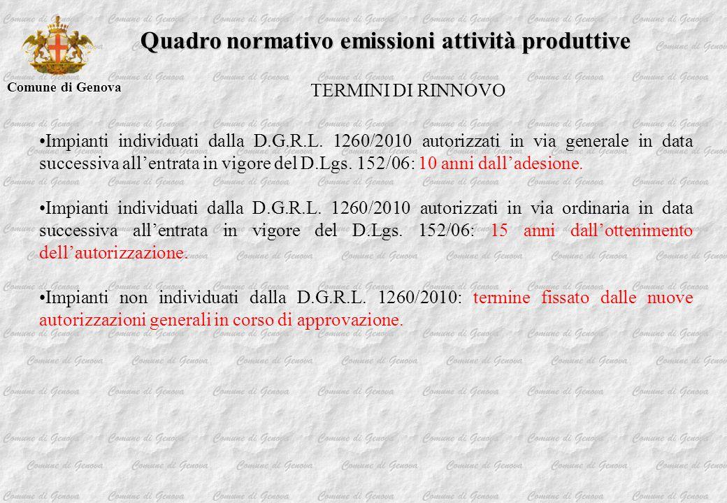 Comune di Genova Quadro normativo emissioni attività produttive TERMINI DI RINNOVO Impianti individuati dalla D.G.R.L. 1260/2010 autorizzati in via ge