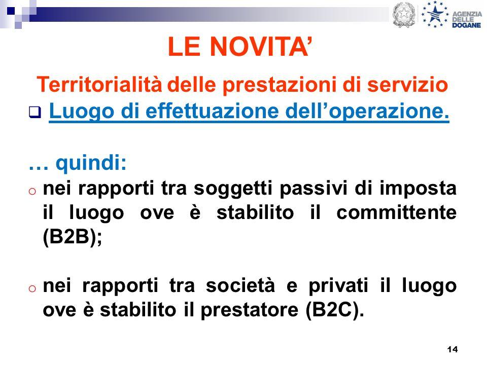 14 LE NOVITA Territorialità delle prestazioni di servizio Luogo di effettuazione delloperazione. … quindi: o nei rapporti tra soggetti passivi di impo