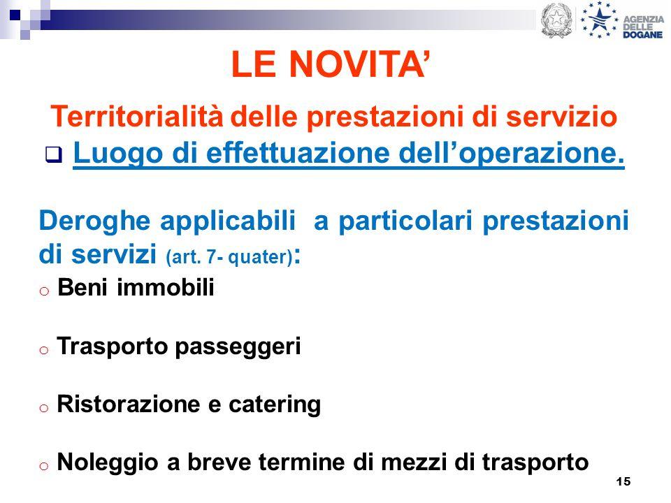 15 LE NOVITA Territorialità delle prestazioni di servizio Luogo di effettuazione delloperazione. Deroghe applicabili a particolari prestazioni di serv