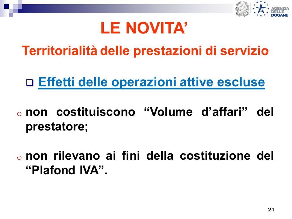 21 LE NOVITA Territorialità delle prestazioni di servizio Effetti delle operazioni attive escluse o non costituiscono Volume daffari del prestatore; o