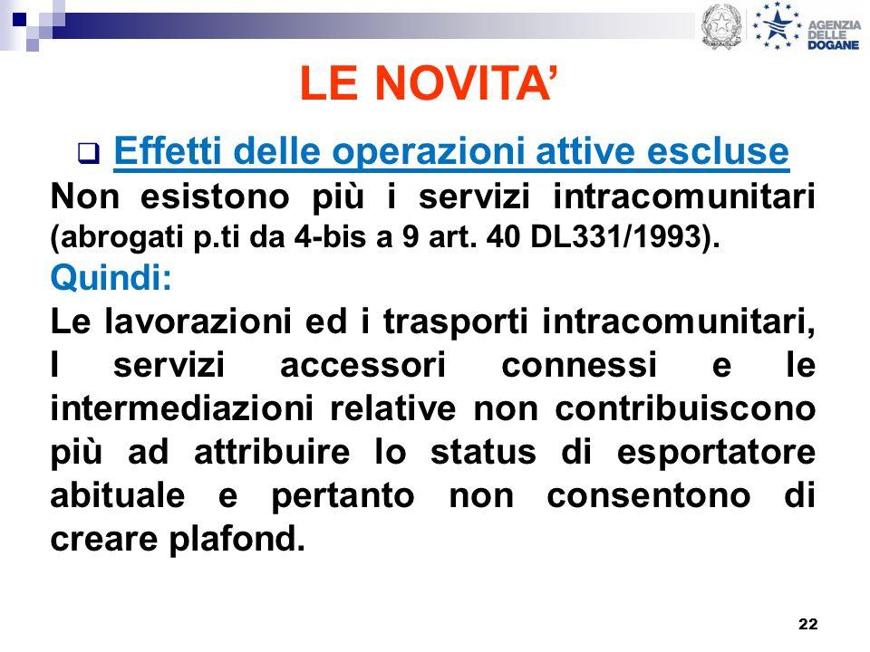 22 LE NOVITA Effetti delle operazioni attive escluse Non esistono più i servizi intracomunitari (abrogati p.ti da 4-bis a 9 art. 40 DL331/1993). Quind