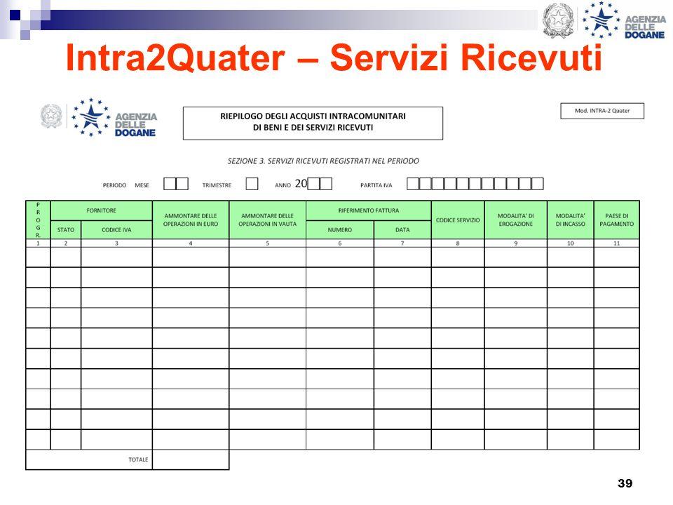 39 Intra2Quater – Servizi Ricevuti