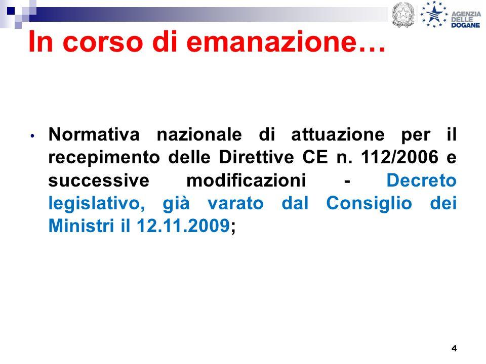4 In corso di emanazione… Normativa nazionale di attuazione per il recepimento delle Direttive CE n. 112/2006 e successive modificazioni - Decreto leg
