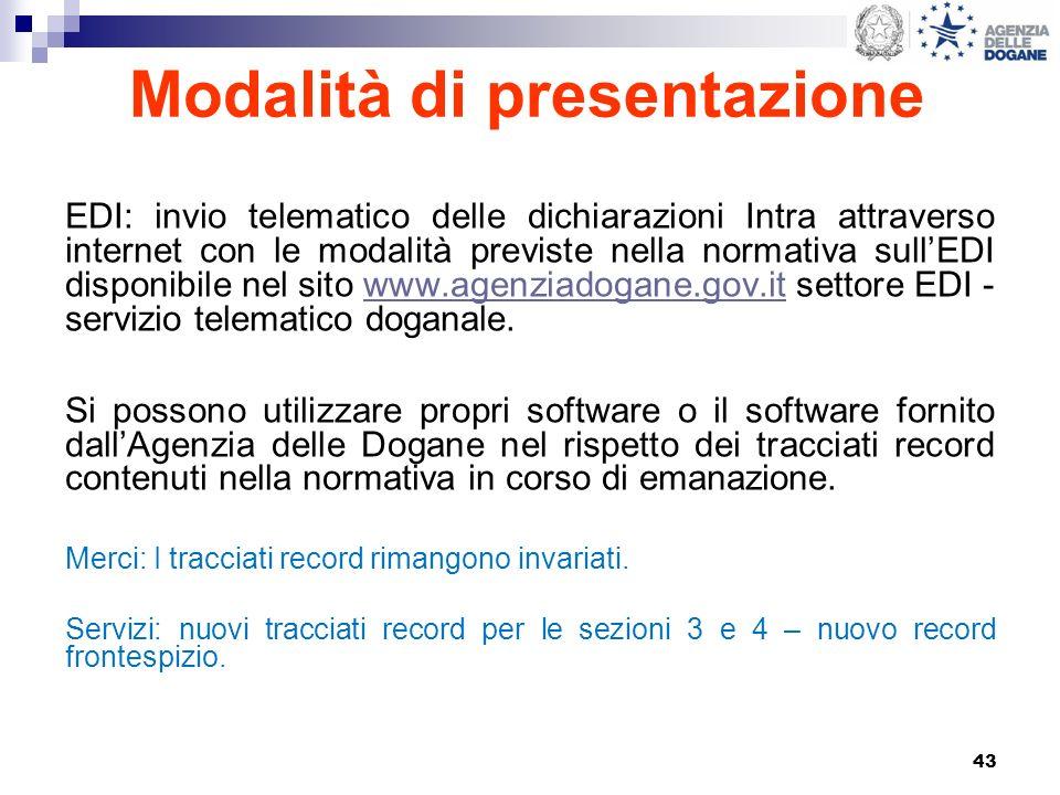 43 Modalità di presentazione EDI: invio telematico delle dichiarazioni Intra attraverso internet con le modalità previste nella normativa sullEDI disp