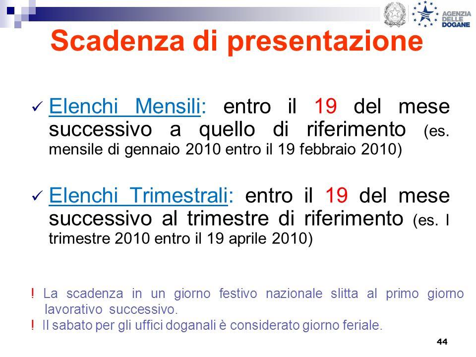 44 Scadenza di presentazione Elenchi Mensili: entro il 19 del mese successivo a quello di riferimento (es. mensile di gennaio 2010 entro il 19 febbrai