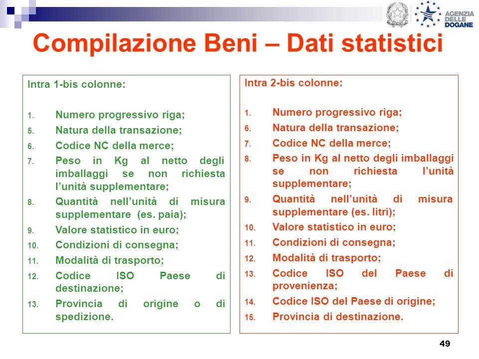 49 Compilazione Beni – Dati statistici Intra 1-bis colonne: 1. Numero progressivo riga; 5. Natura della transazione; 6. Codice NC della merce; 7. Peso