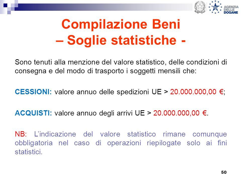 50 Compilazione Beni – Soglie statistiche - Sono tenuti alla menzione del valore statistico, delle condizioni di consegna e del modo di trasporto i so