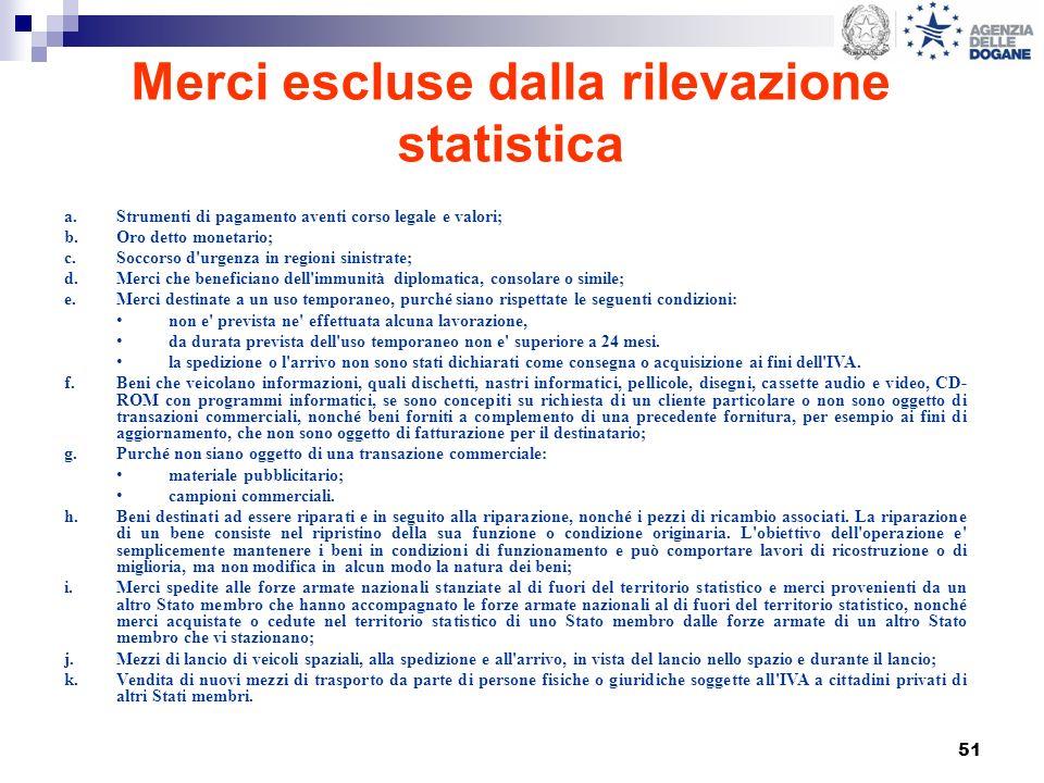 51 Merci escluse dalla rilevazione statistica a.Strumenti di pagamento aventi corso legale e valori; b.Oro detto monetario; c.Soccorso d'urgenza in re