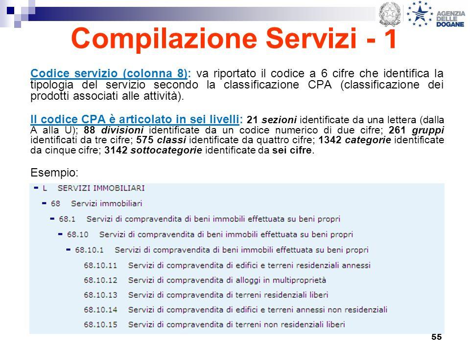 55 Compilazione Servizi - 1 Codice servizio (colonna 8): va riportato il codice a 6 cifre che identifica la tipologia del servizio secondo la classifi