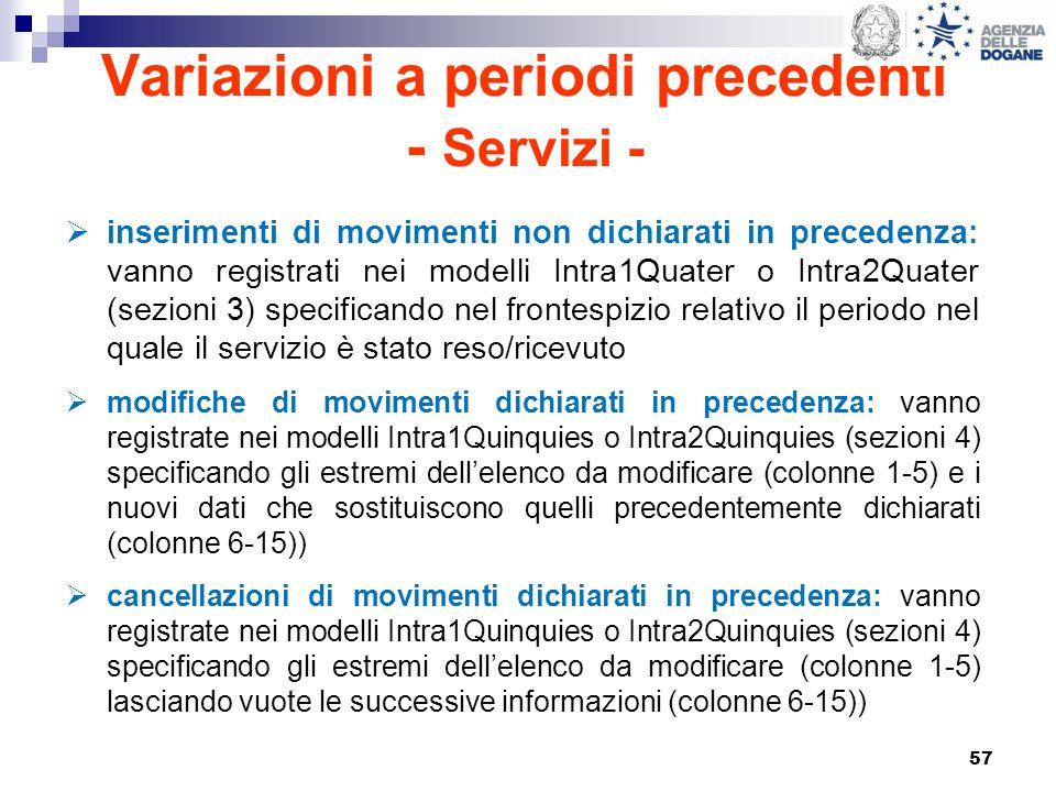 57 Variazioni a periodi precedenti - Servizi - inserimenti di movimenti non dichiarati in precedenza: vanno registrati nei modelli Intra1Quater o Intr