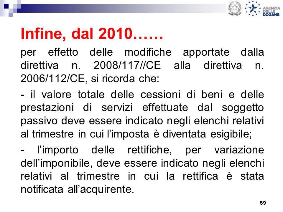 59 Infine, dal 2010…… per effetto delle modifiche apportate dalla direttiva n. 2008/117//CE alla direttiva n. 2006/112/CE, si ricorda che: - il valore