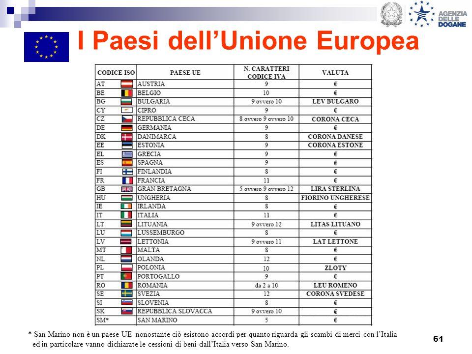 61 I Paesi dellUnione Europea * San Marino non è un paese UE nonostante ciò esistono accordi per quanto riguarda gli scambi di merci con lItalia ed in