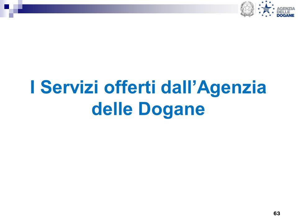 63 I Servizi offerti dallAgenzia delle Dogane