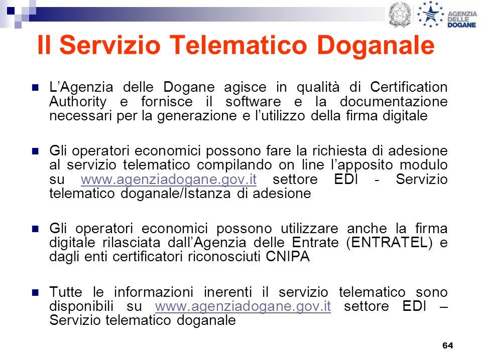 64 Il Servizio Telematico Doganale LAgenzia delle Dogane agisce in qualità di Certification Authority e fornisce il software e la documentazione neces