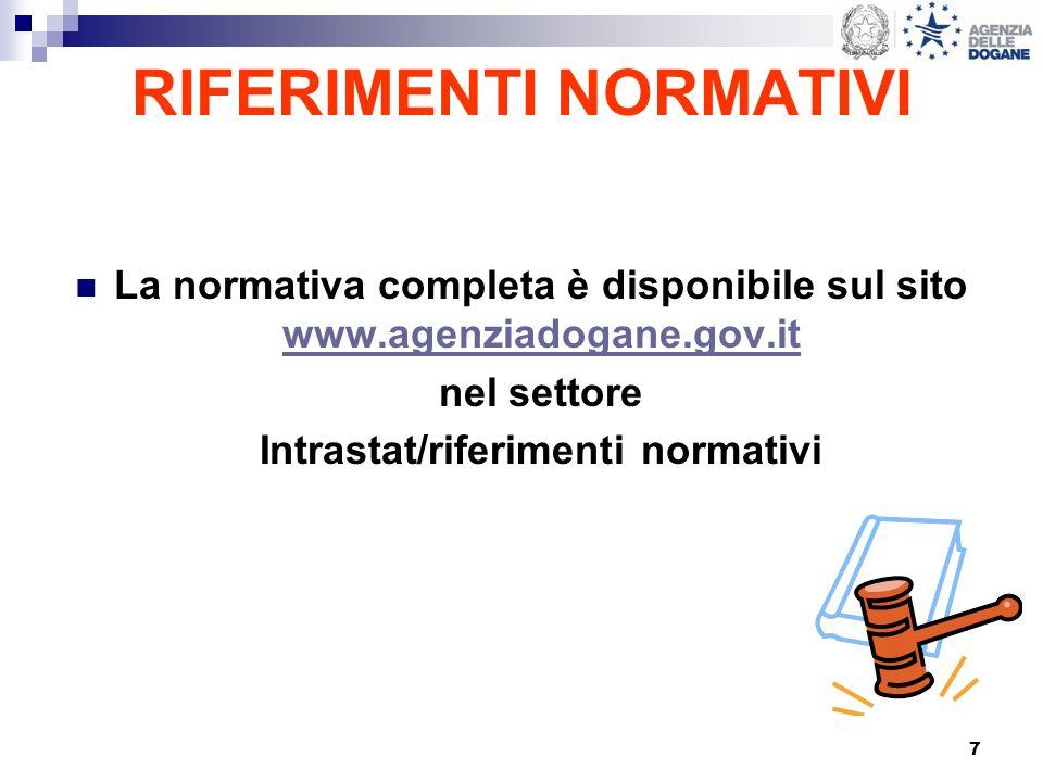7 RIFERIMENTI NORMATIVI La normativa completa è disponibile sul sito www.agenziadogane.gov.it www.agenziadogane.gov.it nel settore Intrastat/riferimen
