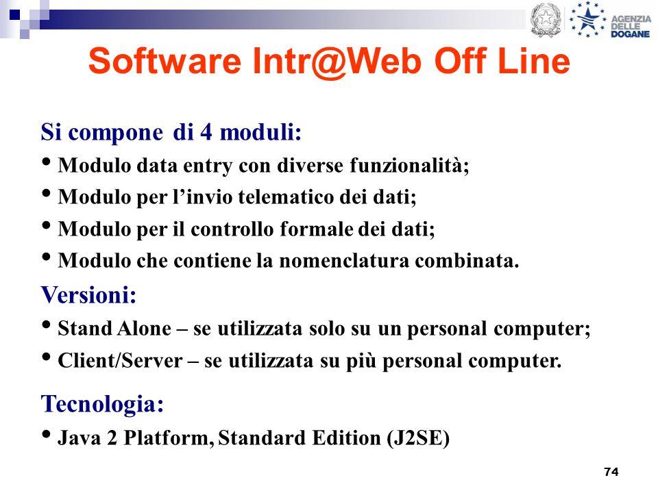 74 Software Intr@Web Off Line Si compone di 4 moduli: Modulo data entry con diverse funzionalità; Modulo per linvio telematico dei dati; Modulo per il