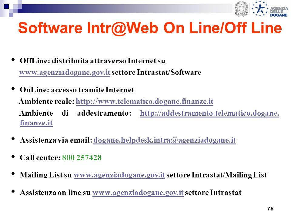 75 Software Intr@Web On Line/Off Line OffLine: distribuita attraverso Internet su www.agenziadogane.gov.it settore Intrastat/Softwarewww.agenziadogane.gov.it OnLine: accesso tramite Internet Ambiente reale: http://www.telematico.dogane.finanze.ithttp://www.telematico.dogane.finanze.it Ambiente di addestramento: http://addestramento.telematico.dogane.