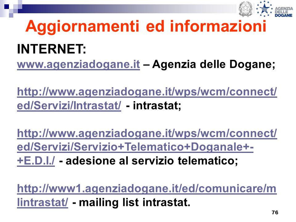 76 Aggiornamenti ed informazioni INTERNET: www.agenziadogane.itwww.agenziadogane.it – Agenzia delle Dogane; http://www.agenziadogane.it/wps/wcm/connec