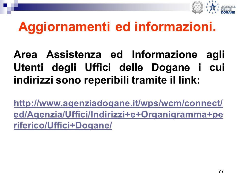 77 Aggiornamenti ed informazioni. Area Assistenza ed Informazione agli Utenti degli Uffici delle Dogane i cui indirizzi sono reperibili tramite il lin