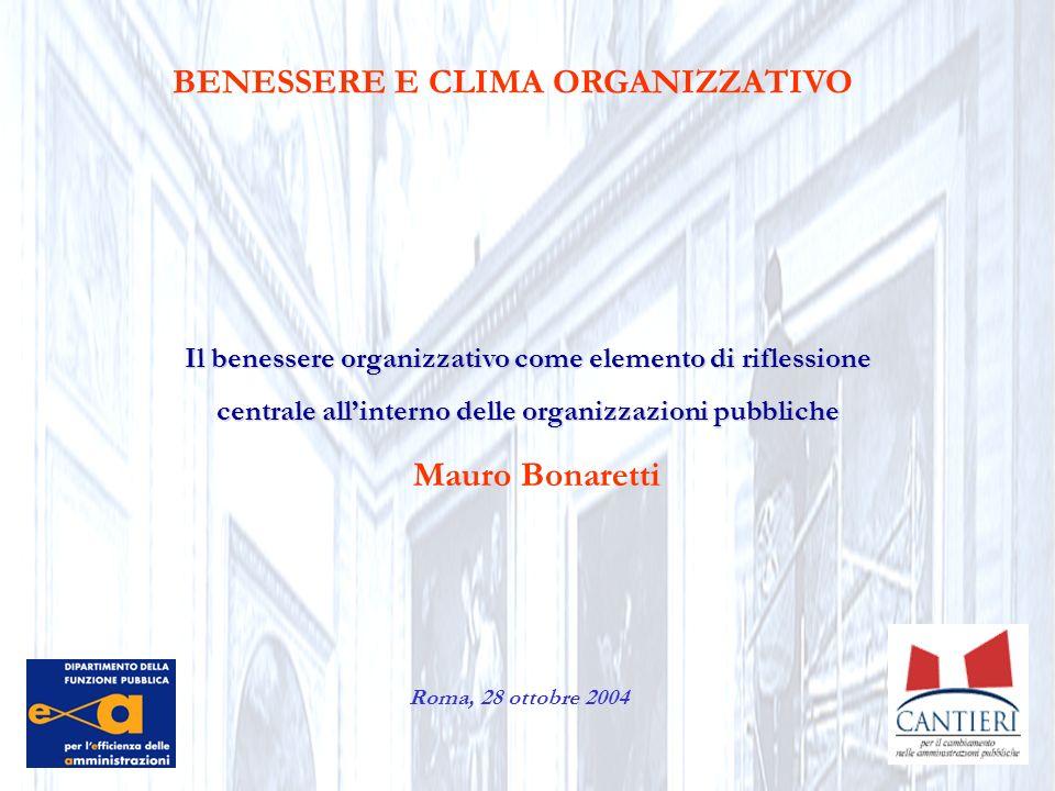 BENESSERE E CLIMA ORGANIZZATIVO Il benessere organizzativo come elemento di riflessione centrale allinterno delle organizzazioni pubbliche Roma, 28 ot