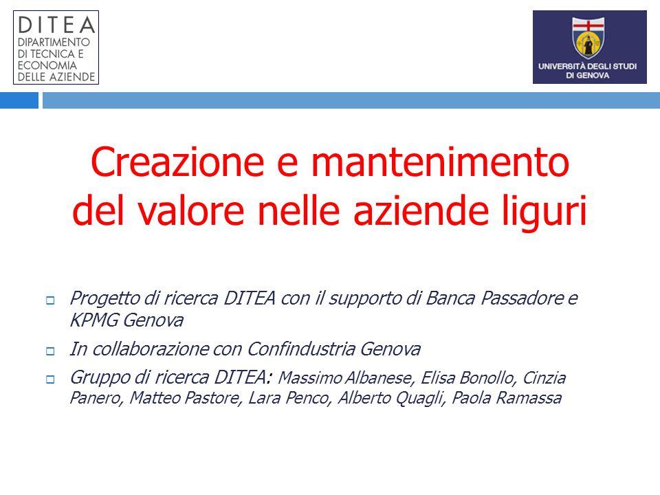 Creazione e mantenimento del valore nelle aziende liguri Progetto di ricerca DITEA con il supporto di Banca Passadore e KPMG Genova In collaborazione
