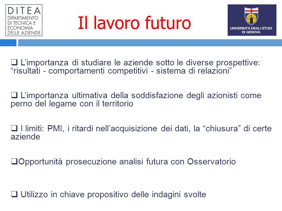 Il lavoro futuro Limportanza di studiare le aziende sotto le diverse prospettive: risultati - comportamenti competitivi - sistema di relazioni Limport