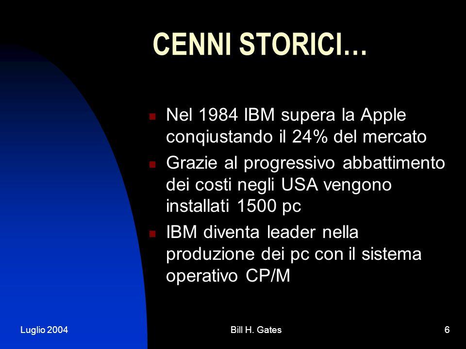 Luglio 2004Bill H. Gates6 CENNI STORICI… Nel 1984 IBM supera la Apple conqiustando il 24% del mercato Grazie al progressivo abbattimento dei costi neg