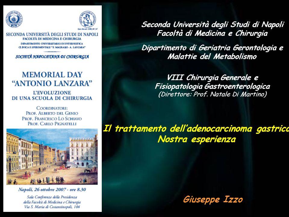 Seconda Università degli Studi di Napoli Facoltà di Medicina e Chirurgia Giuseppe Izzo Il trattamento delladenocarcinoma gastrico Nostra esperienza VI