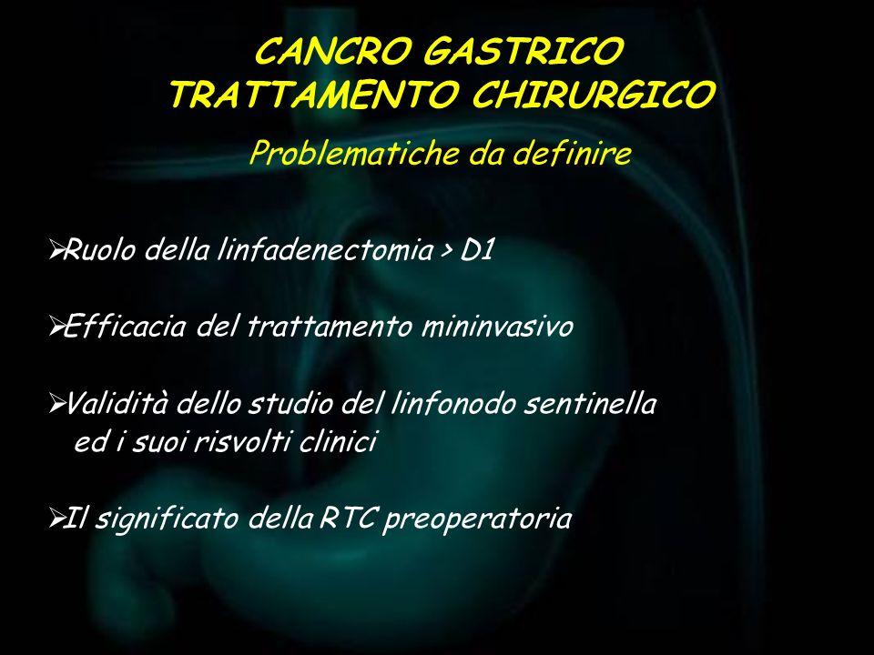 CANCRO GASTRICO TRATTAMENTO CHIRURGICO Ruolo della linfadenectomia > D1 Efficacia del trattamento mininvasivo Validità dello studio del linfonodo sent