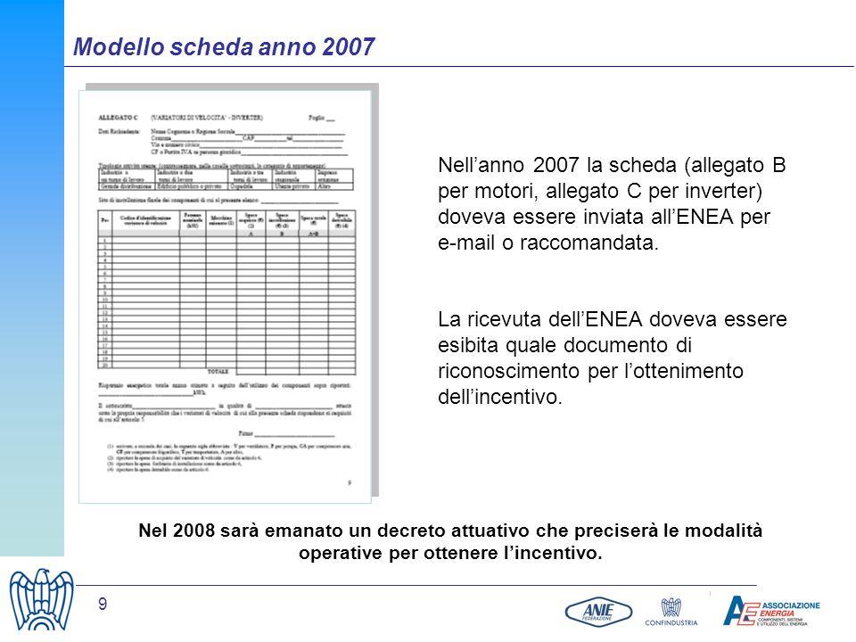 9 Nel 2008 sarà emanato un decreto attuativo che preciserà le modalità operative per ottenere lincentivo. Nellanno 2007 la scheda (allegato B per moto