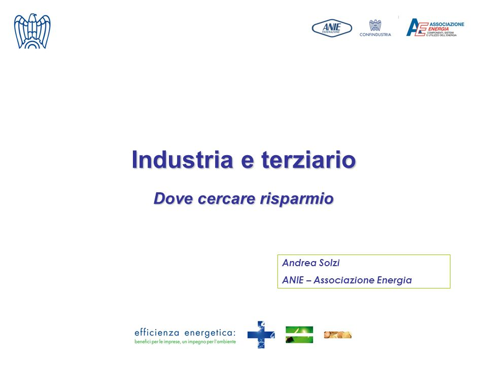 Industria e terziario Dove cercare risparmio Andrea Solzi ANIE – Associazione Energia