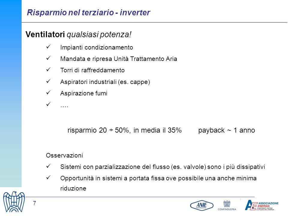 7 Ventilatori qualsiasi potenza! Impianti condizionamento Mandata e ripresa Unità Trattamento Aria Torri di raffreddamento Aspiratori industriali (es.