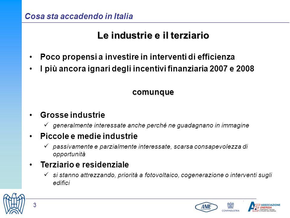 3 Le industrie e il terziario Poco propensi a investire in interventi di efficienza I più ancora ignari degli incentivi finanziaria 2007 e 2008comunqu