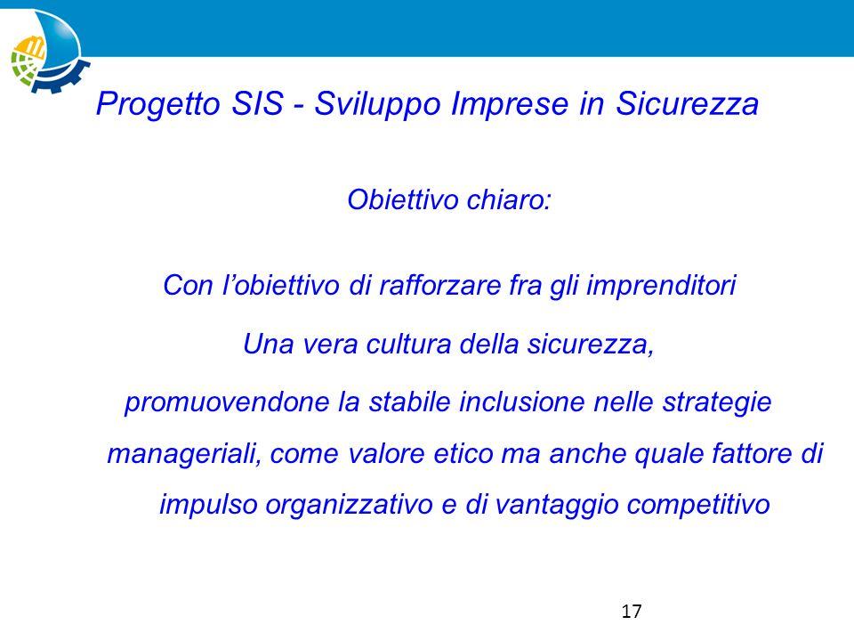 17 Progetto SIS - Sviluppo Imprese in Sicurezza Obiettivo chiaro: Con lobiettivo di rafforzare fra gli imprenditori Una vera cultura della sicurezza, promuovendone la stabile inclusione nelle strategie manageriali, come valore etico ma anche quale fattore di impulso organizzativo e di vantaggio competitivo
