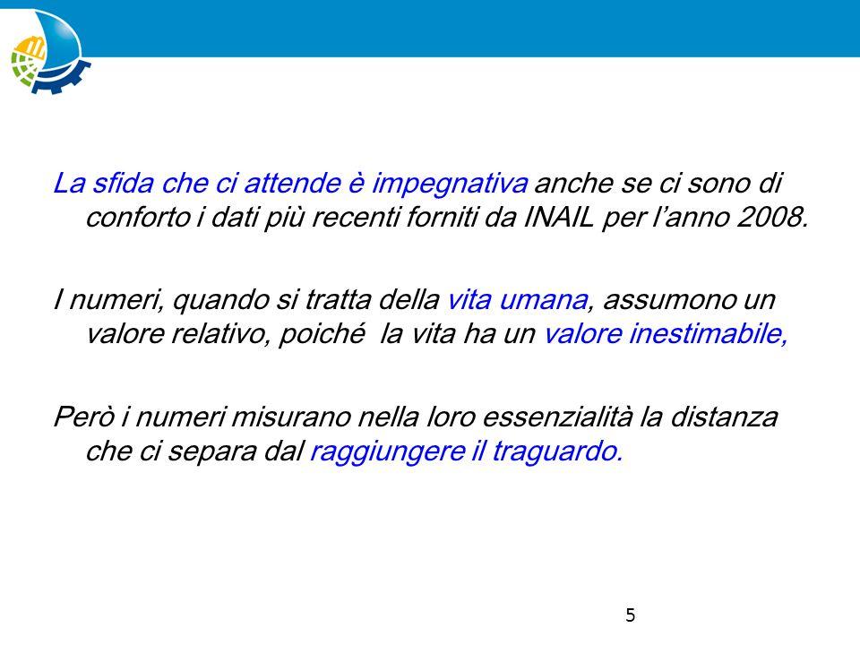 5 La sfida che ci attende è impegnativa anche se ci sono di conforto i dati più recenti forniti da INAIL per lanno 2008.