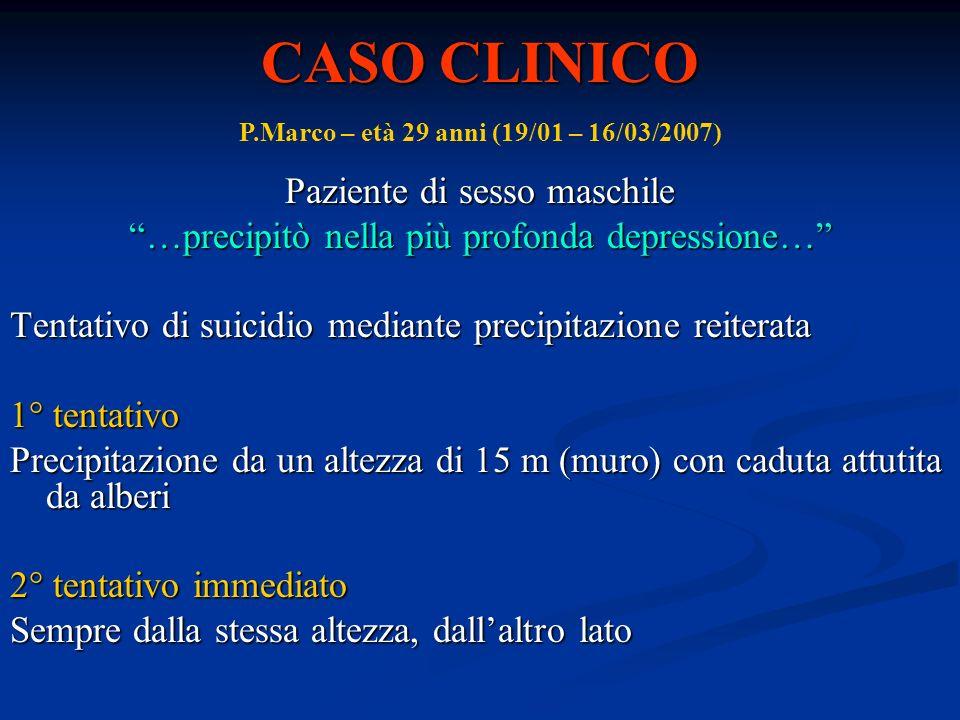 CASO CLINICO Paziente di sesso maschile …precipitò nella più profonda depressione… Tentativo di suicidio mediante precipitazione reiterata 1° tentativ