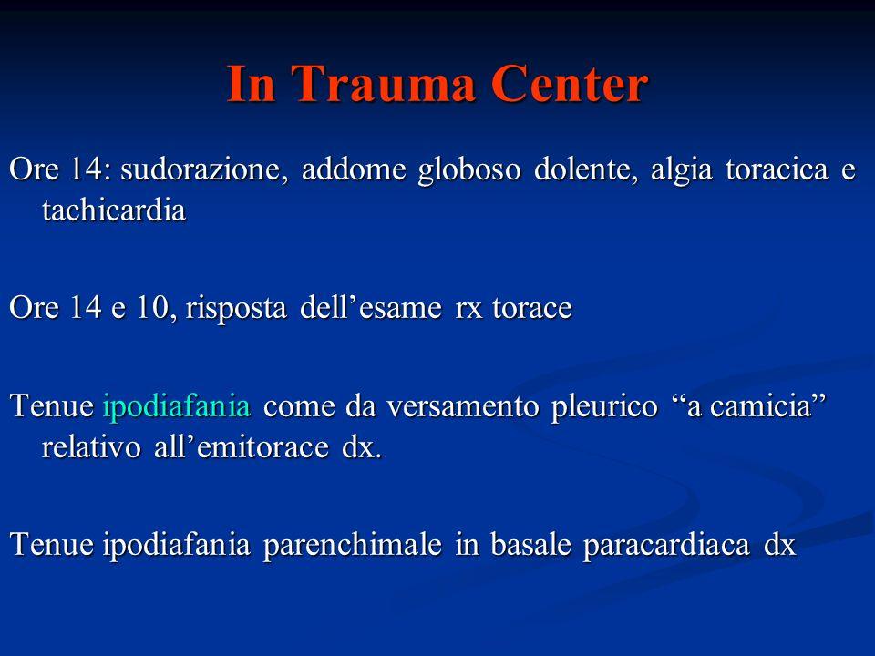 In Trauma Center Ore 14: sudorazione, addome globoso dolente, algia toracica e tachicardia Ore 14 e 10, risposta dellesame rx torace Tenue ipodiafania