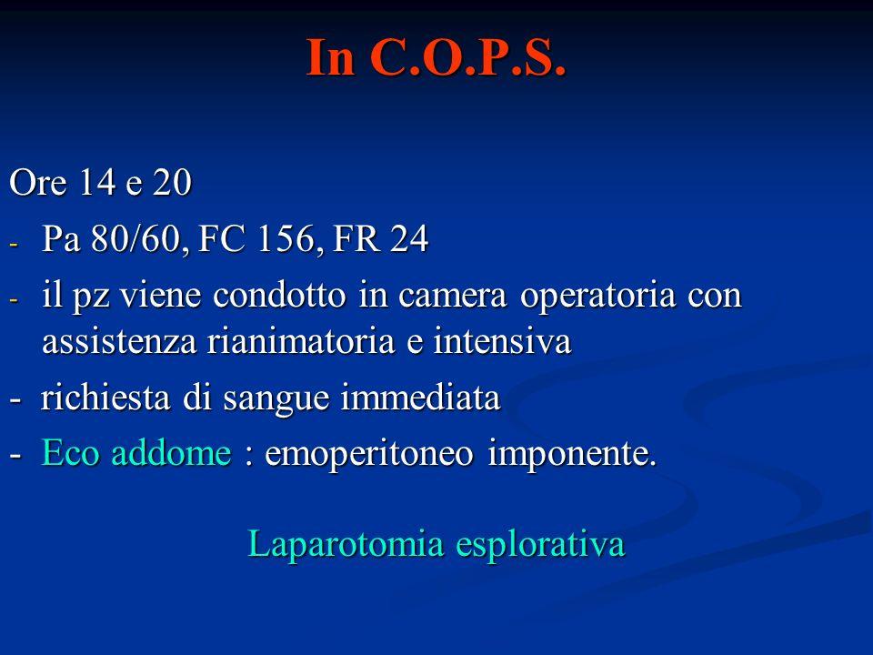 In C.O.P.S. Ore 14 e 20 - Pa 80/60, FC 156, FR 24 - il pz viene condotto in camera operatoria con assistenza rianimatoria e intensiva - richiesta di s