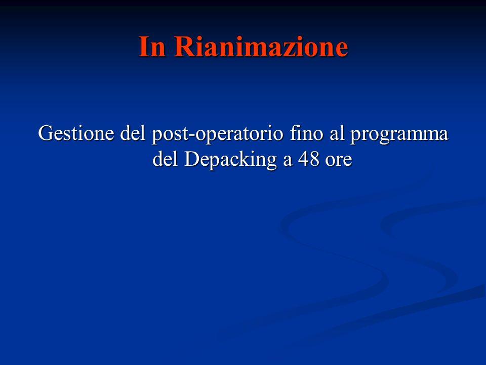In Rianimazione Gestione del post-operatorio fino al programma del Depacking a 48 ore