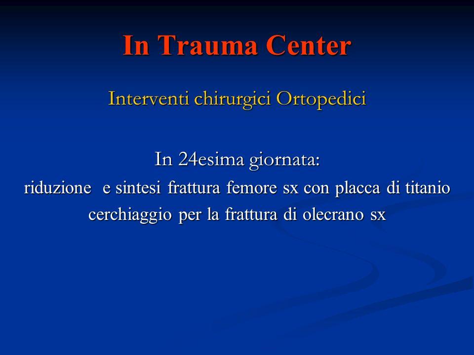 In Trauma Center Interventi chirurgici Ortopedici In 24esima giornata: riduzione e sintesi frattura femore sx con placca di titanio cerchiaggio per la