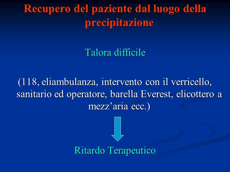 Recupero del paziente dal luogo della precipitazione Talora difficile (118, eliambulanza, intervento con il verricello, sanitario ed operatore, barell