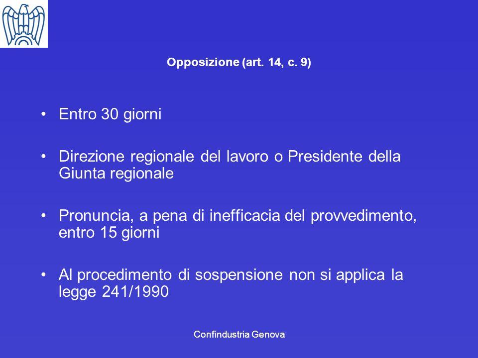 Confindustria Genova Opposizione (art. 14, c. 9) Entro 30 giorni Direzione regionale del lavoro o Presidente della Giunta regionale Pronuncia, a pena