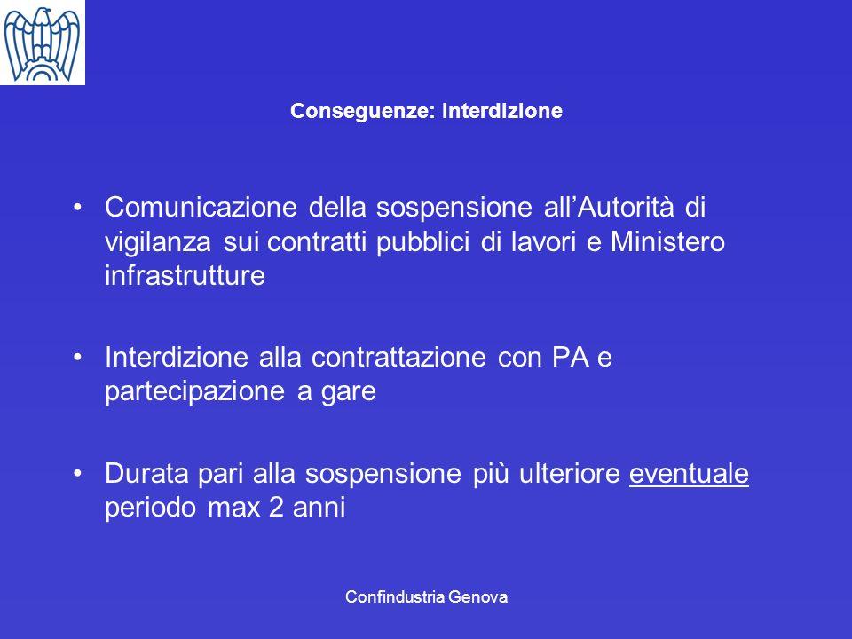 Confindustria Genova Conseguenze: interdizione Comunicazione della sospensione allAutorità di vigilanza sui contratti pubblici di lavori e Ministero i