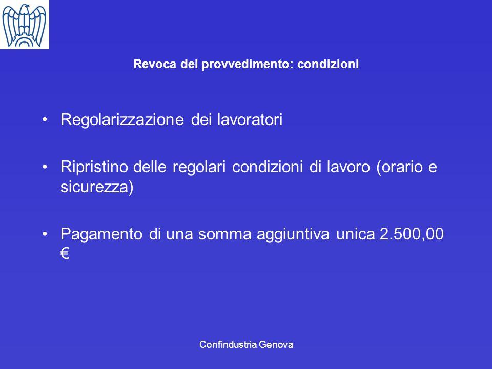 Confindustria Genova Revoca del provvedimento: condizioni Regolarizzazione dei lavoratori Ripristino delle regolari condizioni di lavoro (orario e sic