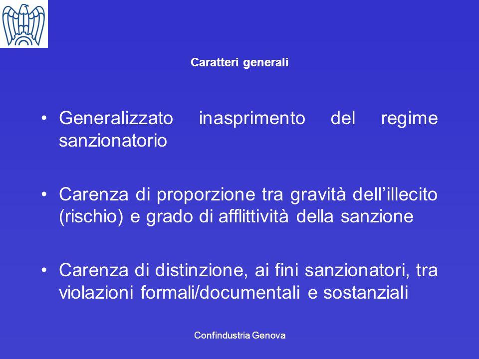 Confindustria Genova Caratteri generali Generalizzato inasprimento del regime sanzionatorio Carenza di proporzione tra gravità dellillecito (rischio)